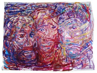 Three Friends 150x200cm Gouache on paper $600