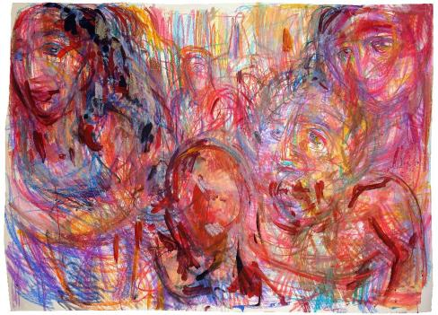 Mexican family 220x150cm gouache, oil sticks on paper $600