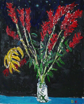 Red Flowers 32x40 $1800